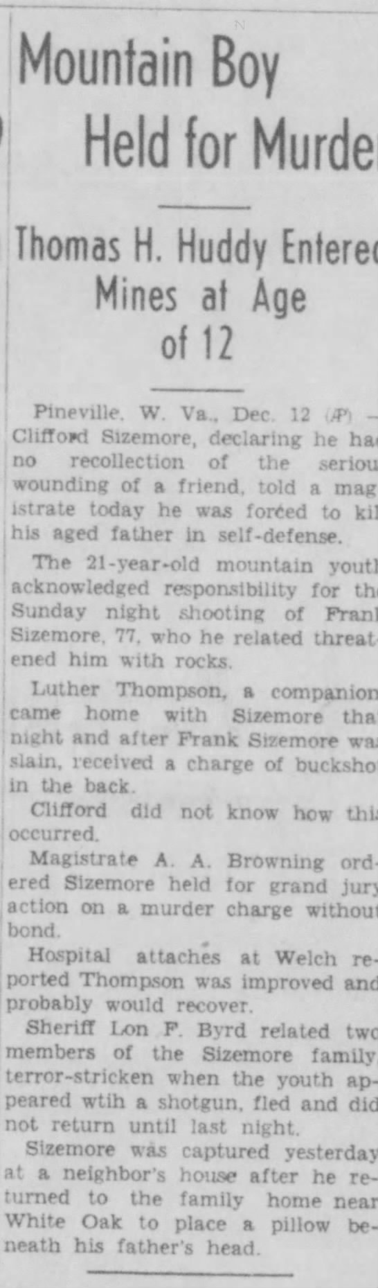 Franklin 'Frank' Sizemore & son Clifford Sizemore - (Mountain Boy Held for Murder Thomas H. Huddy...