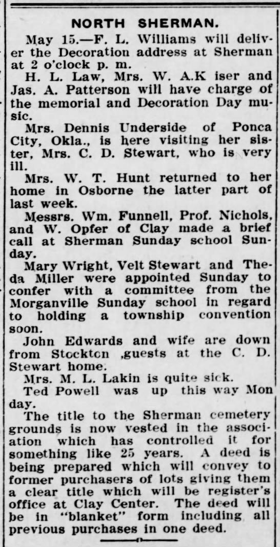 The Times, Clay Center, Kansas, 18 May 1911, page 7 - NORTH SHERMAN. May 15. F. L. Williams will...