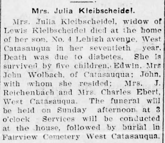 Kleibscheidel, Julia (obituary) - Mrs. Julia Kleibscheidel. Mrs. Julia...