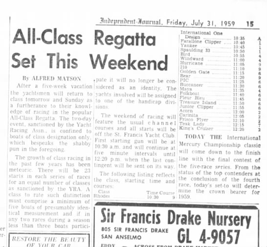 "31 Jul 1959 Daily Ind Jnl ""All-Class Regatta Set This Weekend"" - 3»ròrftHràrnt-3fnuriialt Friday, July 31, (959..."