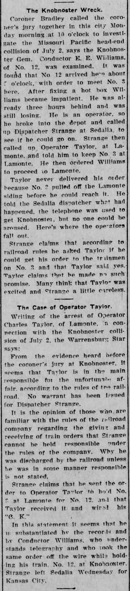 1908 The Knobnoster Train Wreck   Sedalia Democrat 10 July - The Knobnoster Wreck. Coroner Bradley called...