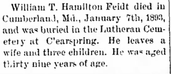 Wm T Hamilton Feidt death