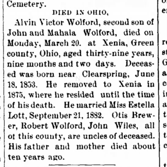 John Wiles..Uncle to deceased - the William 5; H. vote follows: total, in...