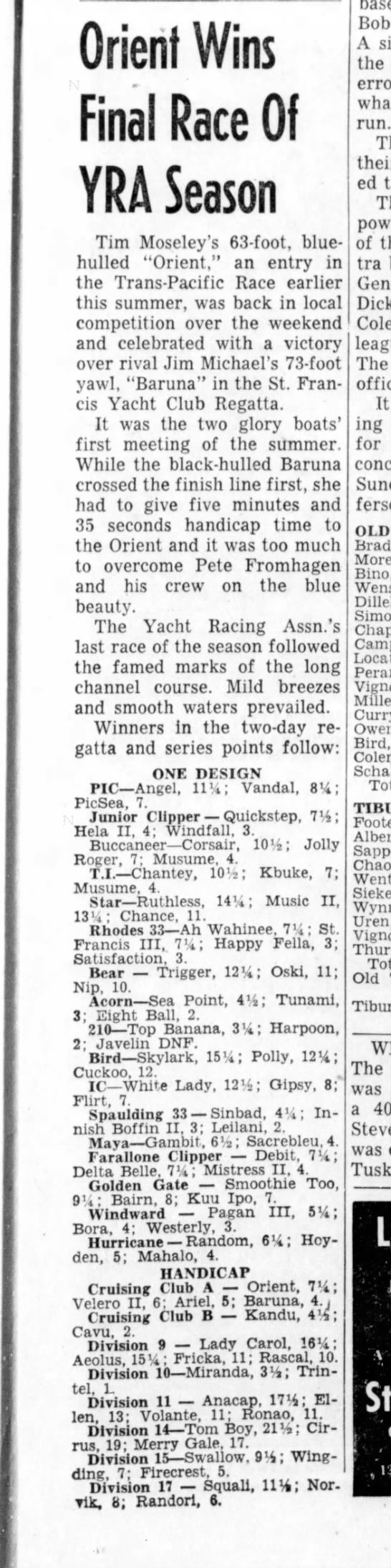 "16 Sept 1957 Daily Ind Jnl ""Orient Wins Final Race of YRA Season"" - Orient Wins Final Race 01 YRA Season Tim..."