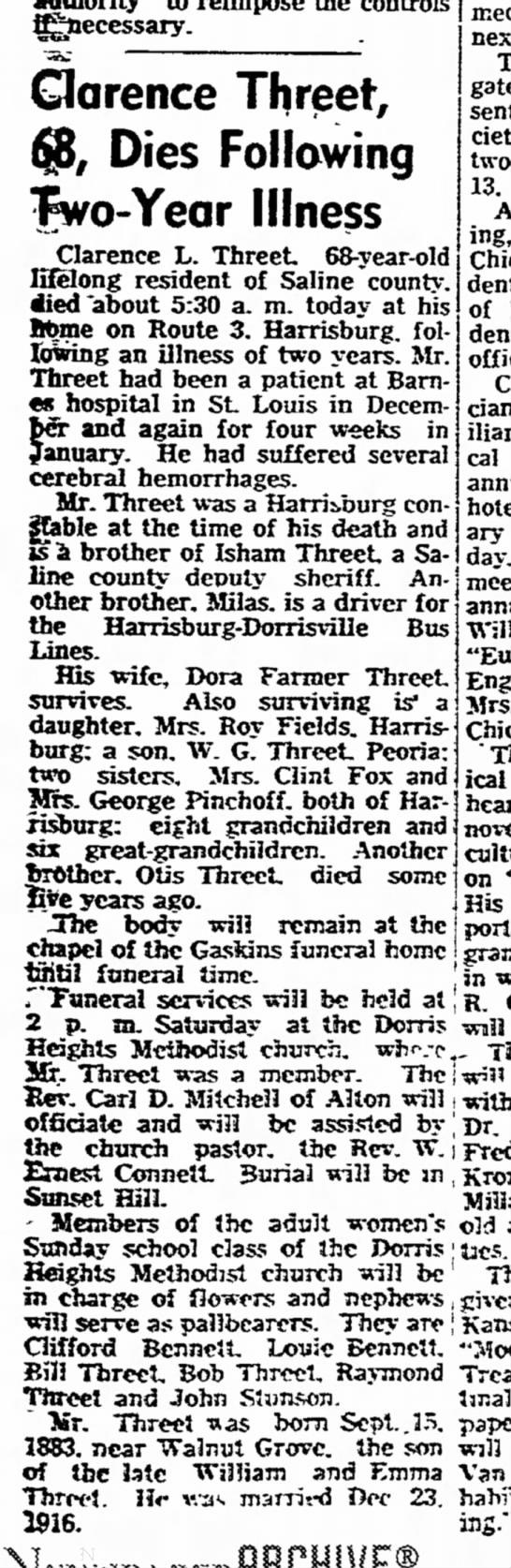 Clarence Threet - fljttecessary. Clarence Threet, $B, Dies...