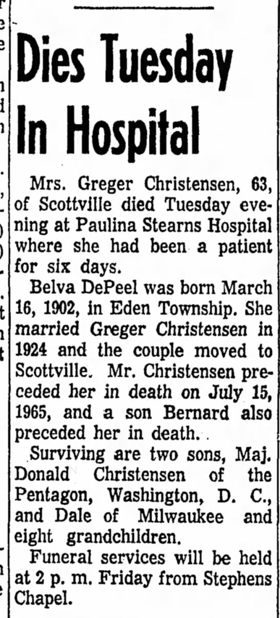 Belva DePeel - Dies Tuesday In Hospital Mrs. Greger...
