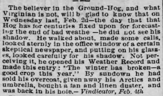 Groundhog Predicting the Winter - Feb 1887 - The believer in the Ground-Hog, and what...