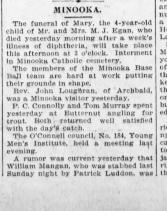 William Mangan Stabbed April 22. 1897 thought to be dead p1 - iMINOOKA. The funeral of Mary, tho 4-year-old...