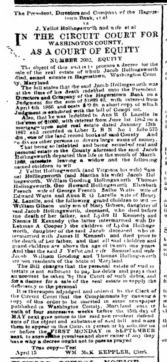 The Herald and Torch Light, Hagerstown, MD, 15 April 1868, pg. 3