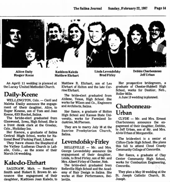 Matt Ehrhart and Kathleen Koledo Engagement - The Salina Journal Sunday, February 22,1987...