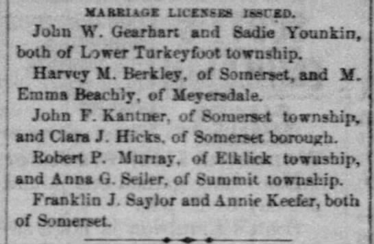 John F Kantner & Clara J Hicks Marriage License Issued - MAaaiAGK uccssxa laarco. John W. Gearbart acd...