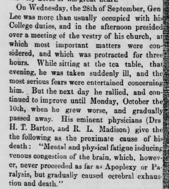 Account of Robert E. Lee's final illness and death - On Wednesday, the 28th of September, Gen Lee...