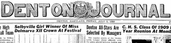 - DENTON, MARYLAND, FRIDAY, JULY 3, 1959 High...