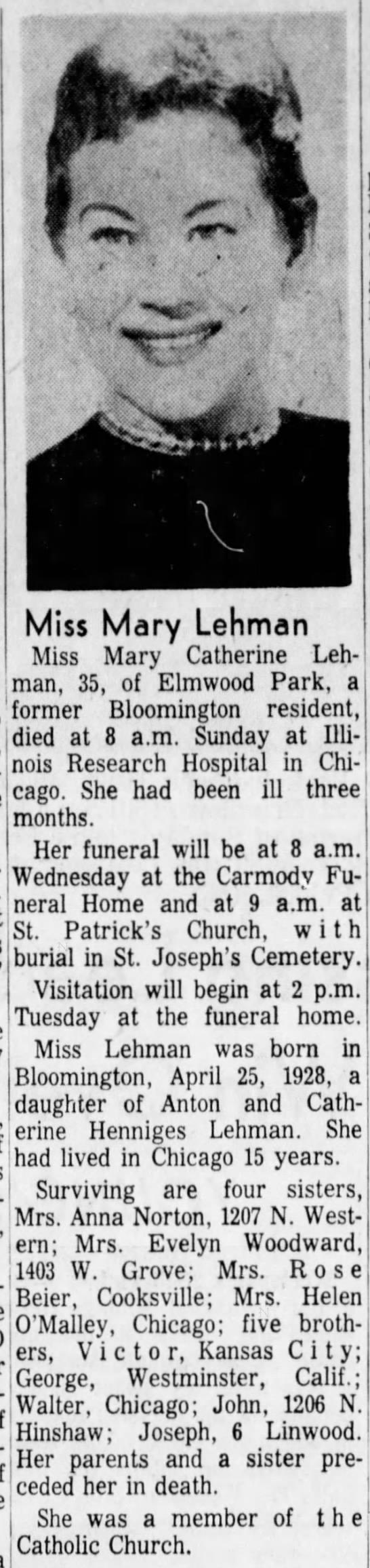 """Mary Lehman Obit - ' """" v. a. Miss Mary Lehman Miss Mary Catherine..."""