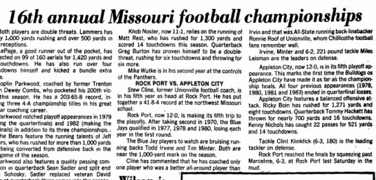 Nichls Kenny - Chillicothe MO paper - 20-11-1984 - of 16th annual Missouri football championships...