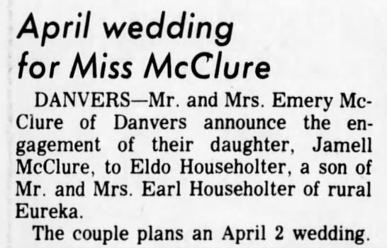 McClure-Householter engagement annoucement - April wedding for Miss McClure DANVERS Mr. and...