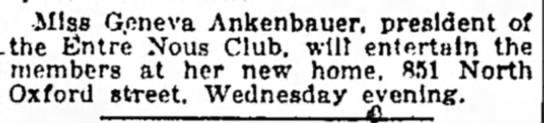 Indianapolis Star 3 Sep 1922 - -Miss Geneva Ankenbauer, president .the Entre...