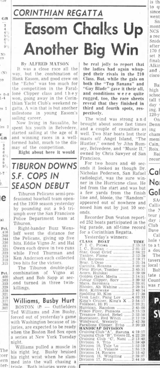 """25 May 1959 Daily Ind Jnl """"Easom Chalks Up Another Big Win"""" - — 3 4 4' ' 6' (10 <N) (Nl 0-8 1-4 1 2 2 GB — 3..."""