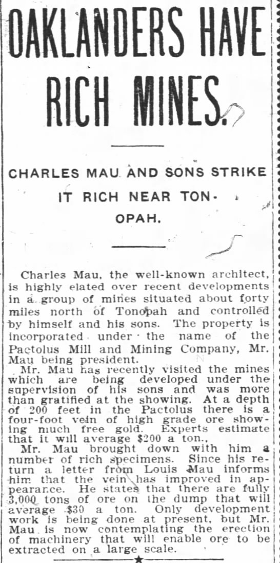 mining success - OAKLANDERS HAVE rich ma CHARLES MAU. AND SONS...