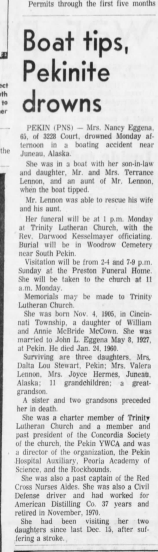 Obit Nancy Mccown Eggena - A Permits through the first five months to the...