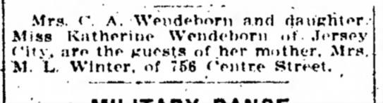 "Frau C A Wendeborn + Tochter Katherine - Mrs. Â«"". A. Wendeborn and daiiKliter Hiss K a..."