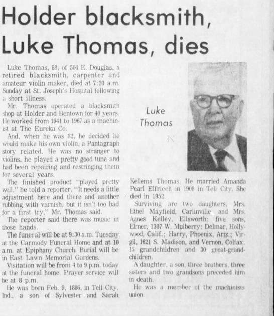 Henry Luke Thomas obit - Holder blacksmith, Luke Thomas, dies Luke...
