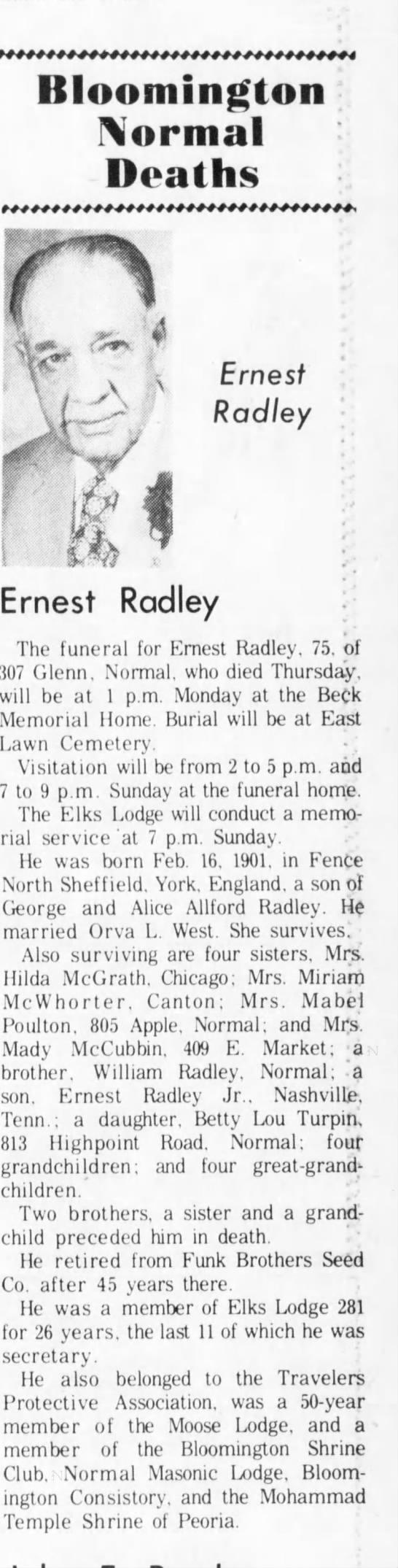 Earnest Radley obit 5 Jun 1976 - 4 Bloomington Normal Deaths t f I 1 f Ernest...