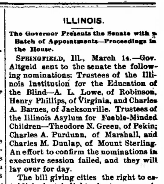 1893.03.15 TN Green trustee of IL asylum for feeble minded children - Company Banking was a ILLINOIS. The tiovernor...