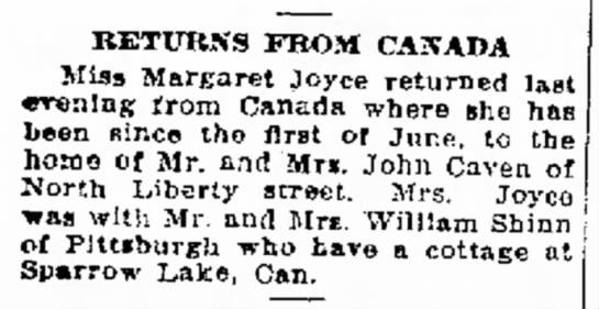 Sparrow Lake News - RETURNS FROM CANADA Miss Marfiaret Joyce...