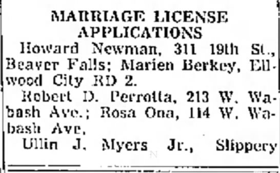 marriage license applications (rosa ona) - MARRTAGF LICENSE APPLICATIONS Howard Newman....
