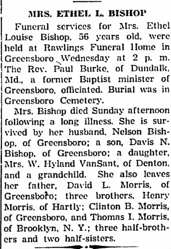 - MRS. ETHEL L. BISHOP Funeral services for Mrs....