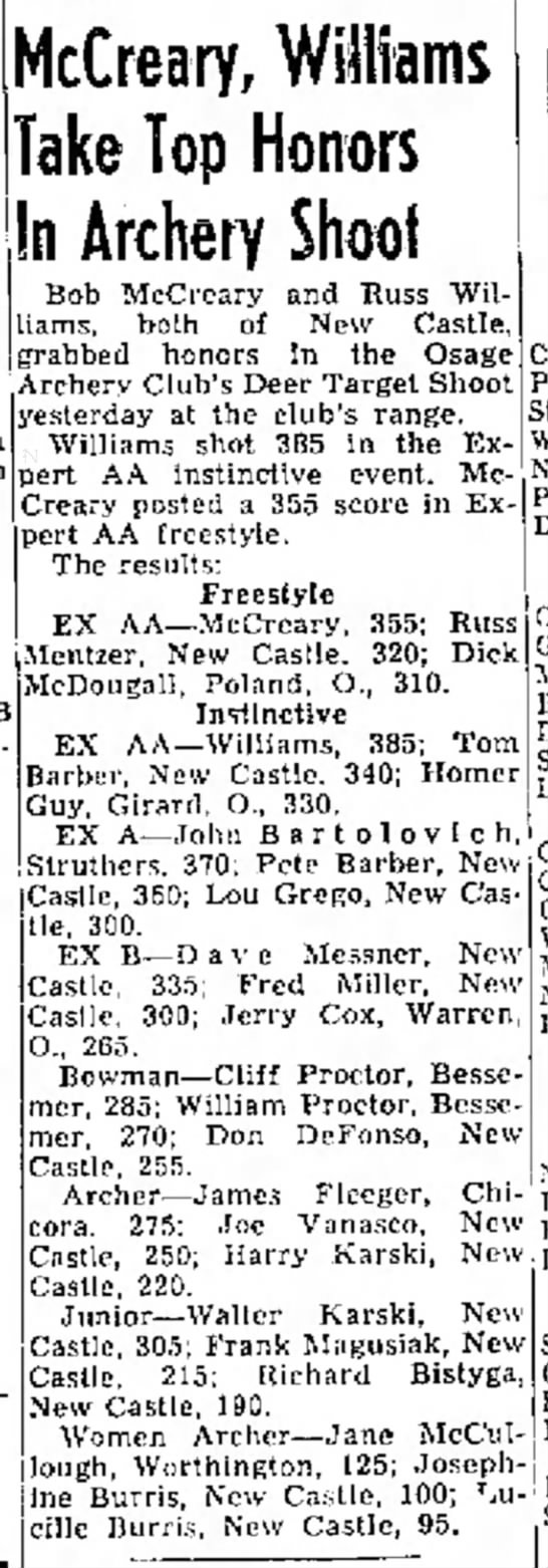 9/30/63 - McCreary, Williams Take Top Honors In Archery...