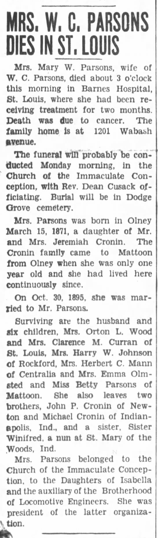 Obituary-Mary W Parsons (Winifred Mary Cronin Parsons) - MRS, W, G, PARSONS DIES IN ST. LOUIS Mrs. Mary...