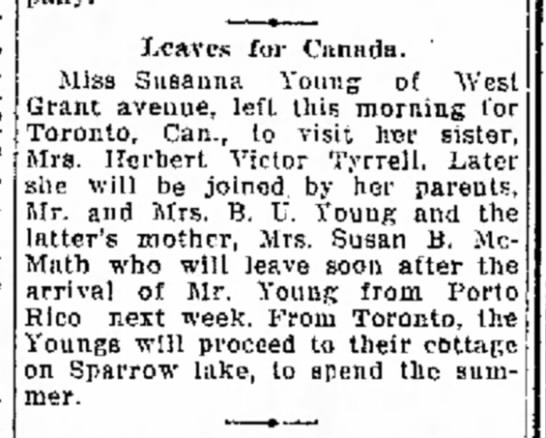 Sparrow Lake News - Leaves for Canada. Miss Susanna Young of West...