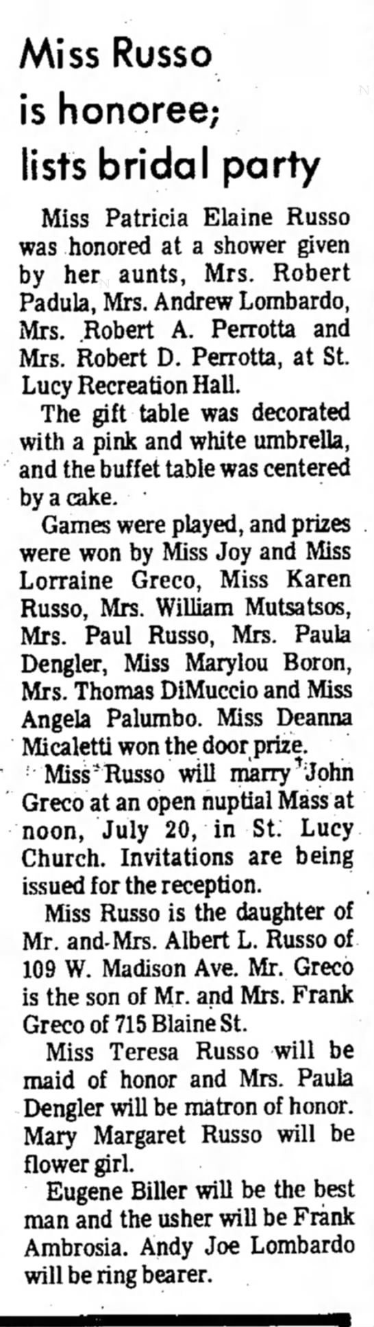 patty russo is honoree - Miss Russo is honoree; lists bridal party Miss...