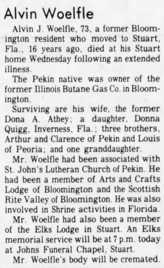 Alvin Wolfle obituary, The Pantagraph (Bloomington, IL), 17 Aug 1979, p. 29 - Alvin Woelfle Alvin J. Woelfle, 73, a former...