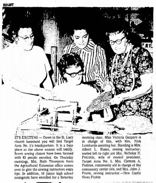 Aunt Grace sewing instructor - IT'S EXCITING - Down in the St. Lucy church...