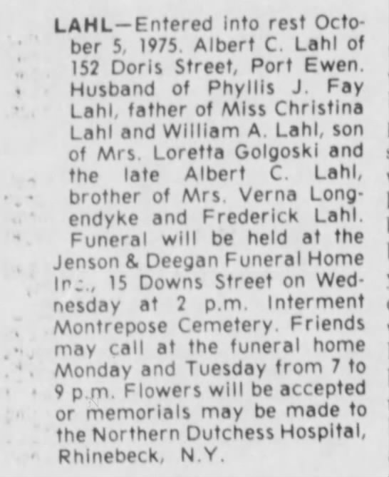 Albert Lahl's Obituary, 1975 - LAHL—Entered into rest October October 5, 1975....
