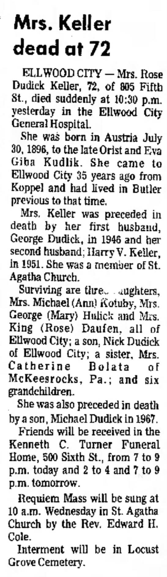 New Castle News (New Castle, PA) 18 NOV 1968 Monday Page 15 - Mrs. Keller dead at 72 ELLWOOD CITY - Mrs. Rose...