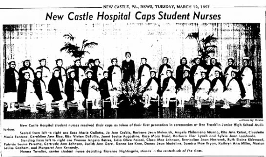 New Castle Hospital Caps Student Nurses