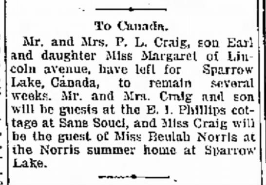 Sparrow Lake News - l Earl To OLiiadn. Mr. and Mrs. P. L. Craig, i...