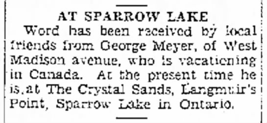 Sparrow Lake News - i AT SPARROW LAKE Word has been received by...