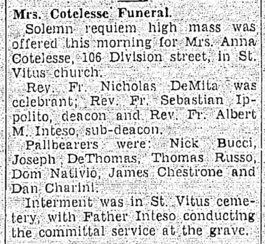 - tain-types Mis. Cotclessc' Funeral. V Solemn...