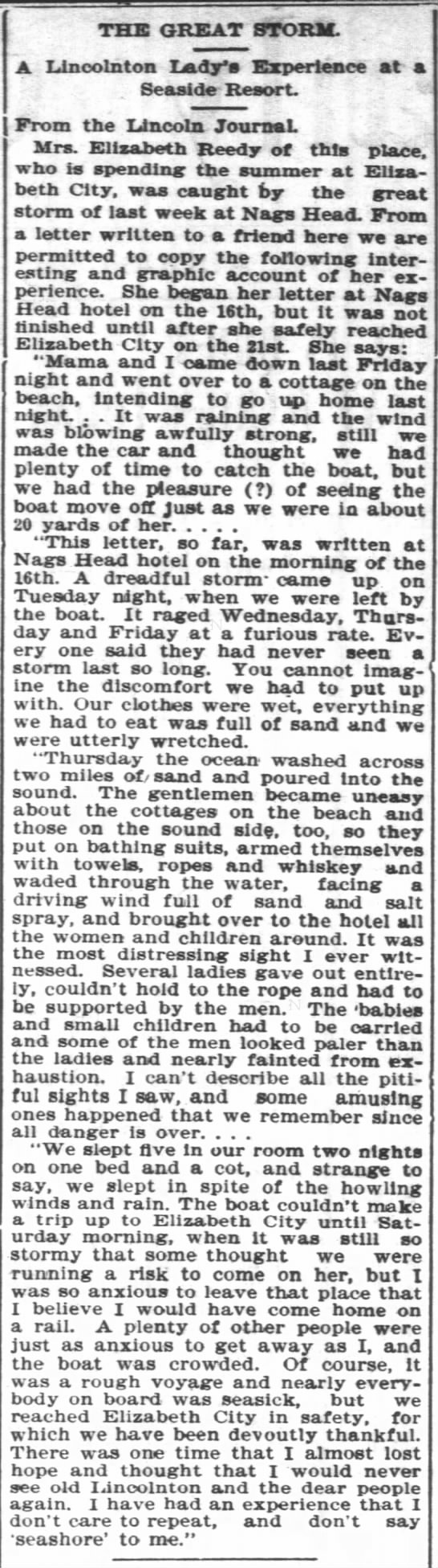 Elizabeth Johnson Reedy in Hurricane at Nags Head 1899 - THE GREAT STORM. Linoolnton Lady's Experience...