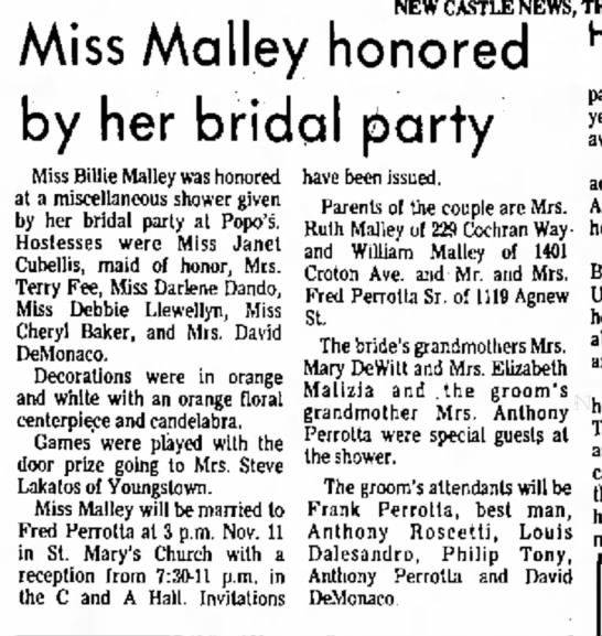 miss malley honored by her bridal party - NEW CASTLE NEWS, Miss Malley honored by her...