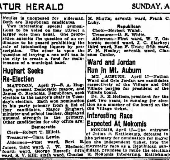 Hughart seeks re-election Sun 17Apr1927 Decatur Evening Herald