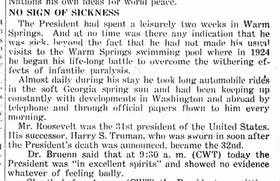 Paper reports there FDR showed no sign of sickness before death - (U.R) I he news t h as a shock C h u r c h i l...