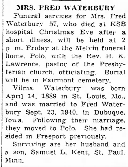 - MRS. FRED WATERBUKV Funeral services for Mrs....