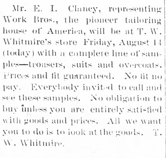 EIClancy as traveling salesman in Brevard,NC Aug 14,1903 - Mr. E. I. Clancy, representing Work Bros., the...