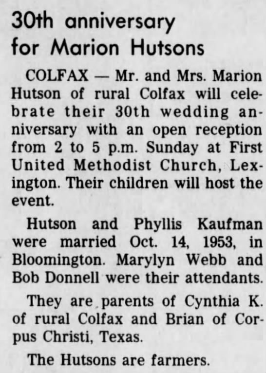 Marion and Phyllis Hutson 30th anniversary - 30th anniversary for Marion Hutsons COLFAX Mr....